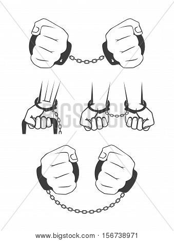 On the image presented Human hands in handcuffs