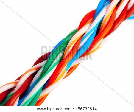 Multicolored Computer Cable Isolated On White, Cable Internet