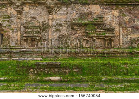 Ancient City Ruins In Polonnaruwa City Temple Sri Lanka. World Heritage Convention, Unesco