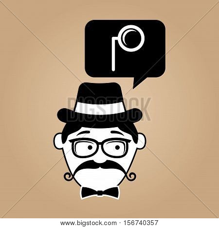 cartoon hipster monocle glass retro vector illustration eps 10