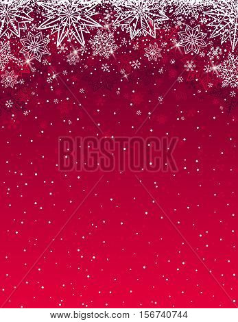 Red christmas background with snowflakes and stars vector illustration
