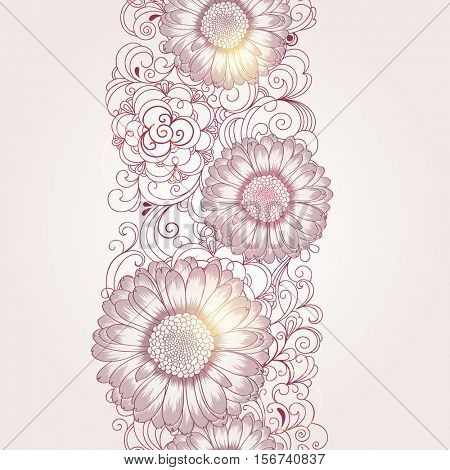 Beautiful abstract seamless hand drawn floral pattern with gerbera flowers. Vector illustration. Element for design.