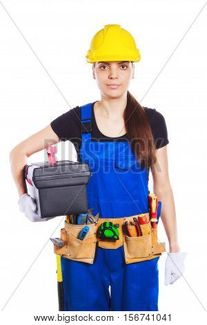 Woman Builder In The Uniform With A Toolbox