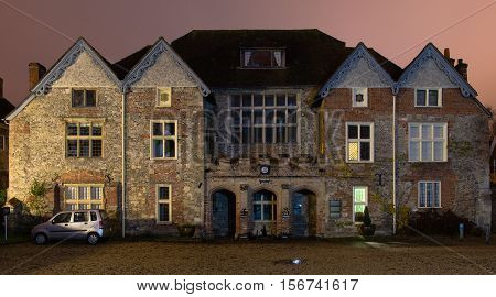 SALISBURY UK - NOVEMBER 14 2016 The Rifles Berkshire and Wiltshire Museum at night. Museum in Cathedral Close Salisbury housing collection of traditional British army units