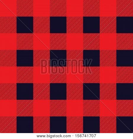 Vector tartan seamless pattern. Criss-crossed horizontal and vertical bands in red and dark navy colors.