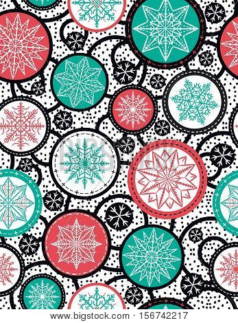 Color seamless pattern background with snowflakes and stars vector illustration