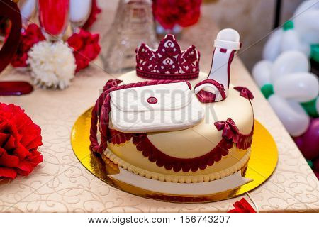 Wonderful birthday cake. Cake of marzipan for women - shoes bag crown