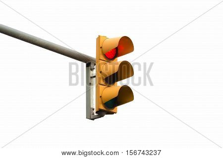 stop red light signal showong isolated on white