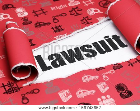 Law concept: black text Lawsuit under the curled piece of Red torn paper with  Hand Drawn Law Icons, 3D rendering