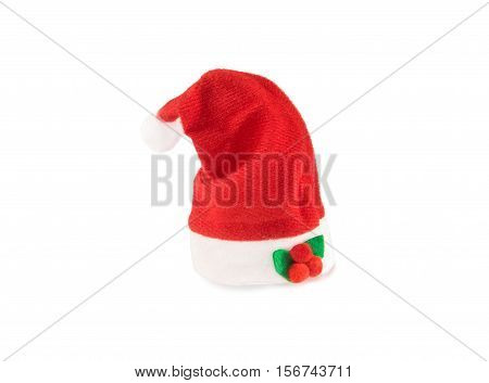 Santa hat with decoration isolated over white. Christmas and New Year theme.