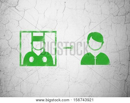 Law concept: Green Criminal Freed on textured concrete wall background