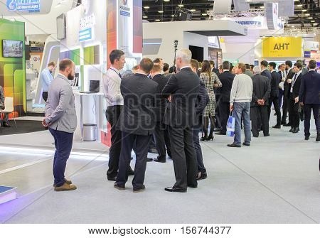 St. Petersburg, Russia - 4 October, Business people on the Gas Forum, 4 October, 2016. Petersburg Gas Forum which takes place in Expoforum.