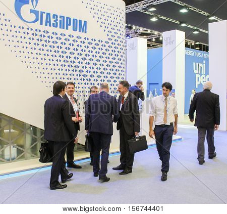St. Petersburg, Russia - 4 October, Group of business people at the gas forum , 4 October, 2016. Petersburg Gas Forum which takes place in Expoforum.