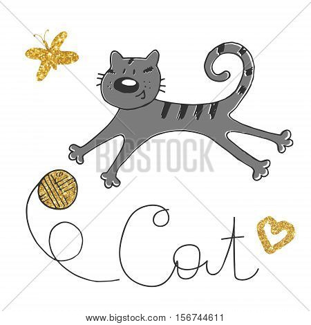 Vector illustration of hand drawn sketch . Cat playing with a ball. Golden butterfly and clew.