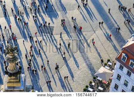 View from top on the Neumarkt square in Dresden Germany. Europe.