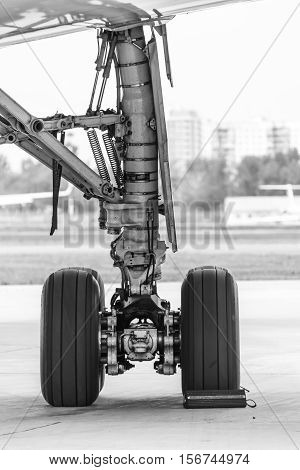 rear landing gear passenger plane on ground at the airport
