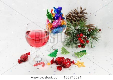 Christmas Party Celebrations With Wine And Sweets And Festive Decorations..