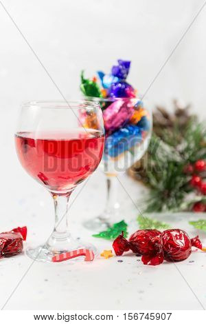 Christmas Party Celebrations With Wine And Chocolate Sweets. Vertical.