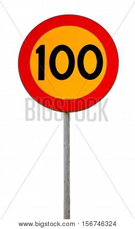 Speed limit road sign with black number 100 on yellow background framed with red circle border isolated on white.