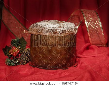 Panettone With Golden Ribbon And Christmas Decoration. Winter Holiday's Theme.