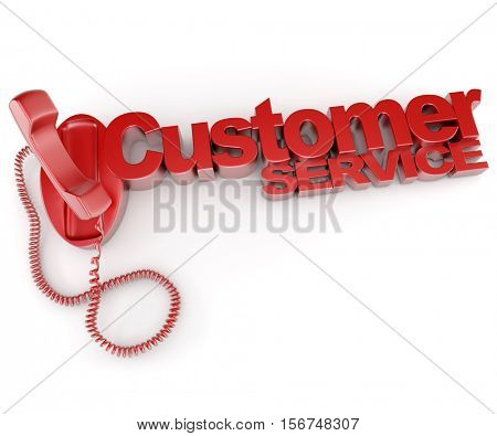3D rendering of an unhooked telephone with the words customer service