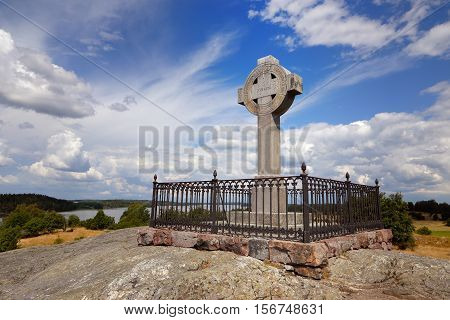 The monument of Ansgar erected in 1834 on the Swedish island Bjorko. Ansgar was a missionary who lived during the 800s.