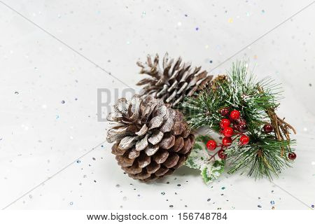 Pinecones And Berries In A Winter Christmas Scene. Copy Space.