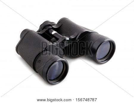 Black binoculars isolated on a white background.