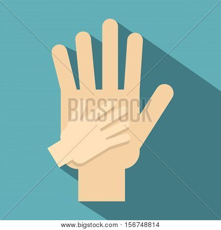 Parent and child hands together icon. Flat illustration of parent and child hands vector icon for web design