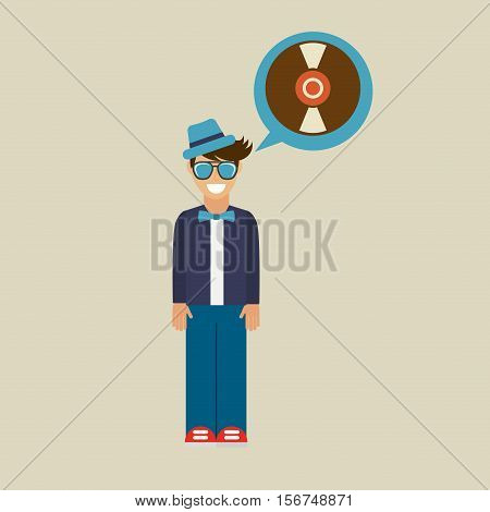 hipster vynil disk vintage background icon vector illustration eps 10