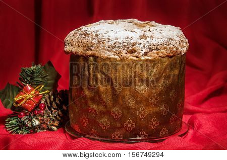 Freshly Baked Homemade Panettone With Christmas Decoration For Winter Holidays.