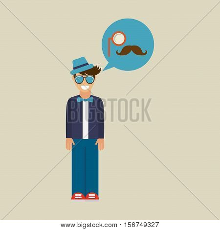 hipster character monocle and mustache vintage icon vector illustration eps 10