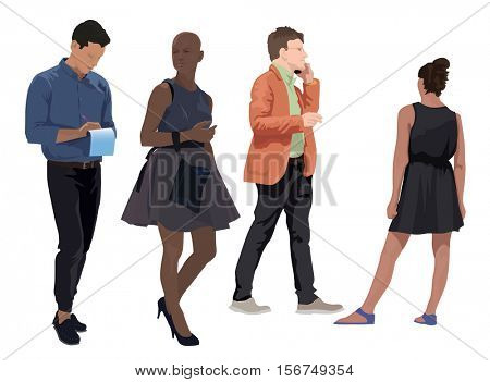 Four adults as vector color illustration. Casual summer clothes. Isolated on white background.