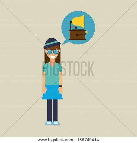 hipster girl gramophone music retro vector illustration eps 10
