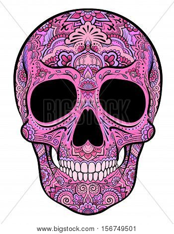 Vector colorful pink skull graphics with floral ornaments
