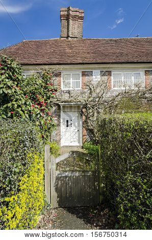 Gate and entrance to a village cottage in Kent UK