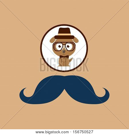 doggy hipster concept, mustache style vector illustration eps 10