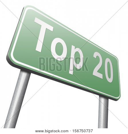 top 20 charts list pop poll result and award winners chart ranking music hits best top twenty quality rating prize winner sign  3D illustration, isolated, on white