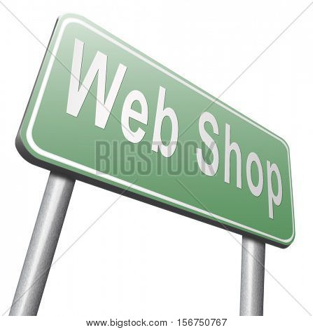 web shop or online shopping sign for internet webshop or store 3D illustration, isolated, on white