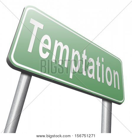 Temptation resist devil temptations lose bad habits by self control. 3D illustration, isolated, on white
