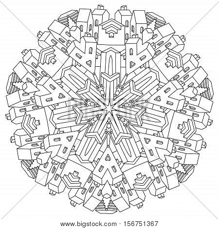 drawing of a non-existent unreal city maze with houses, walls and stairs, design in puzzle style.Vector zen art illustration. Christmas city scene with buildings in vector. For adult coloring pages