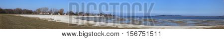 Panoramic View Of Beach In Eldena, Greifswald, Mecklenburg-vorpommern, Germany. The Tide Is Low