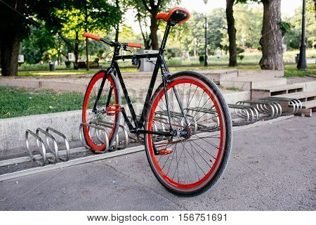 Red bycicle parked in park side view.