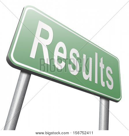 results and succeed business success be a winner in elections pop poll or sports market result  3D illustration, isolated, on white