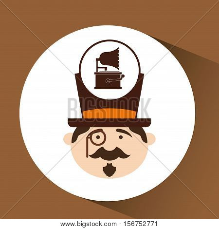 man hipster gramophone vintage icon vector illustration eps 10