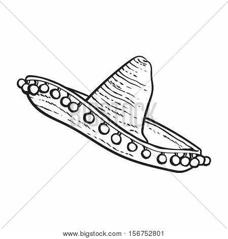 Traditional Mexican wide brimmed sombrero hat, black and white sketch style vector illustration isolated on white background. Hand drawn Mexican sombrero