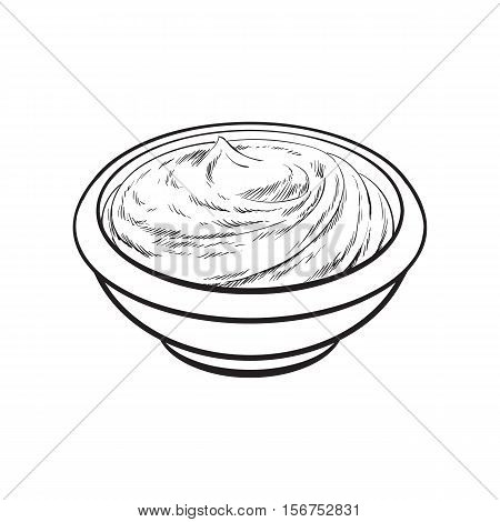 Sketch style drawing of ripe tomato slice, vector illustration isolated on white background. Quarter of ripe tomato, side view, hand drawn illustration