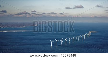 Aerial view of wind farm in Oresund strait near Copenhagen, Denmark