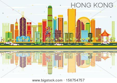 Abstract Hong Kong Skyline with Color Buildings, Blue Sky and Reflections. Vector Illustration. Business Travel and Tourism Concept with Modern Architecture. Image for Presentation Banner Placard.