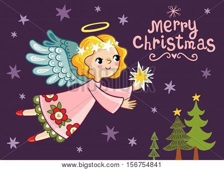 Christmas card with an angel who holds a star. Cute vector illustration on a Christmas theme in children s style.